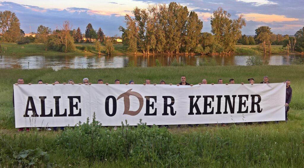 Die klare Botschaft an der Elbe malerisch präsentiert
